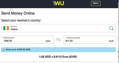 Western Union calculator showing 1000SGD to Euro