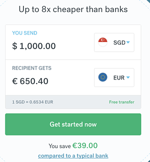 CurrencyFair calculator showing 1000SGD to Eur