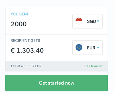 CurrencyFair calculator 2000SGD to EUR