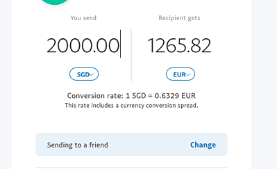 PayPal calculator 2000SGD to EUR