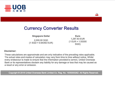 2000SGD exchanged to Euro with UOB