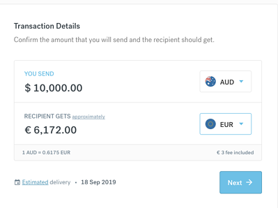 screen showing the details of a AUD10000 to euro with CurrencyFair