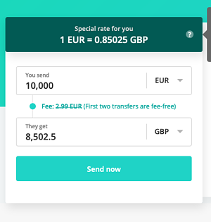 Exchange 1000 EUR to GBP Azimo