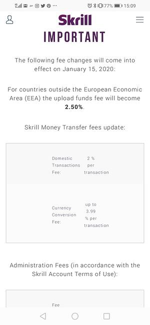 Skrill fees change