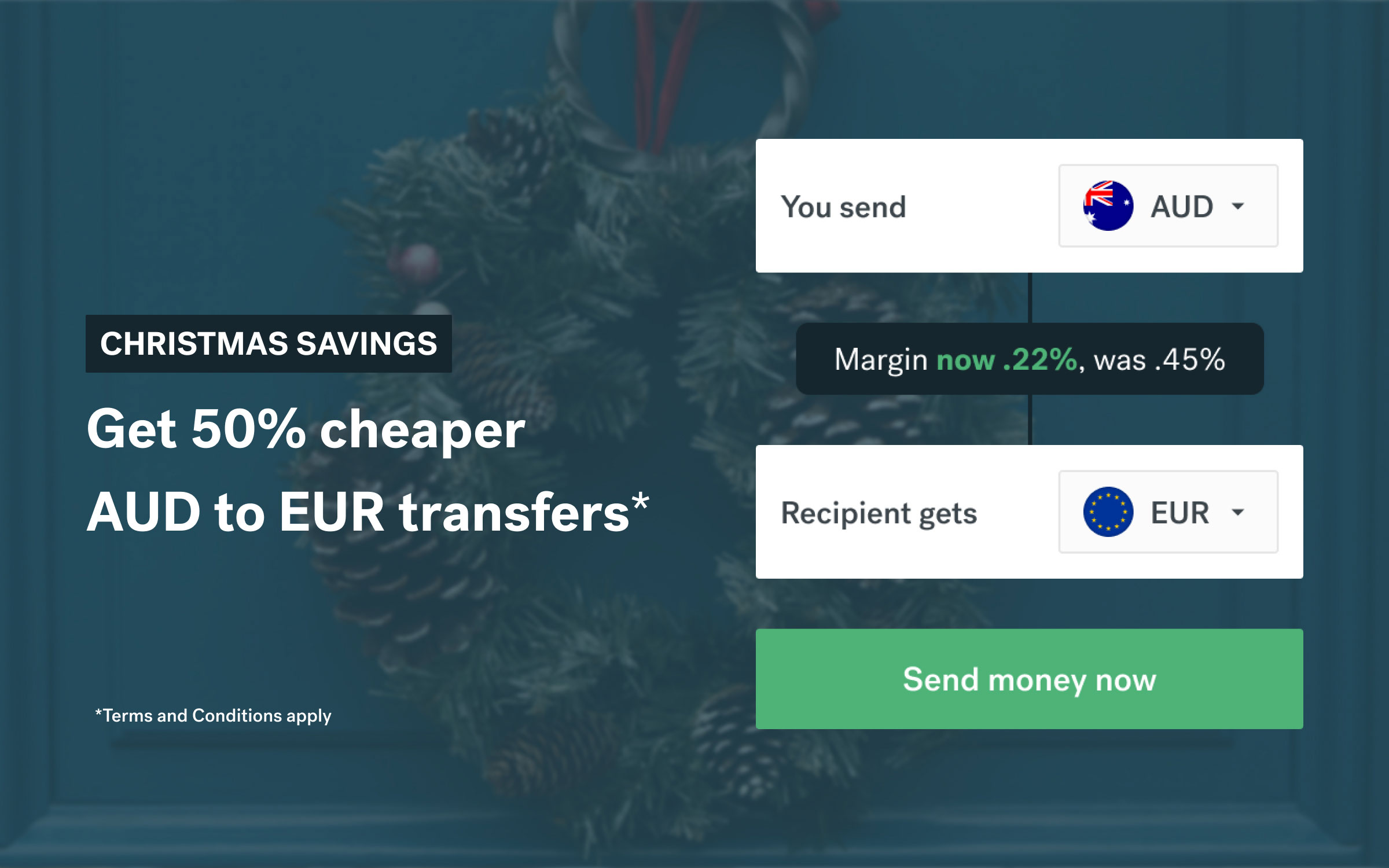 Exchanging AUD to EUR this Christmas? Enjoy 50% off