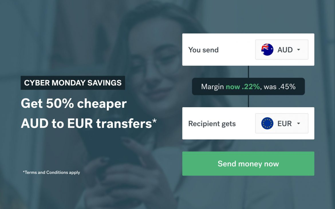 CurrencyFair offers up to 50% off transfers from AUD to EUR this Cyber Monday