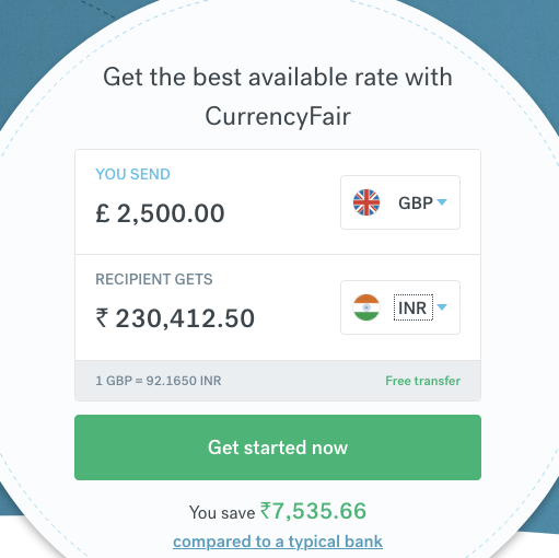 2500 pound sterling to indian rupee transfer CurrencyFair
