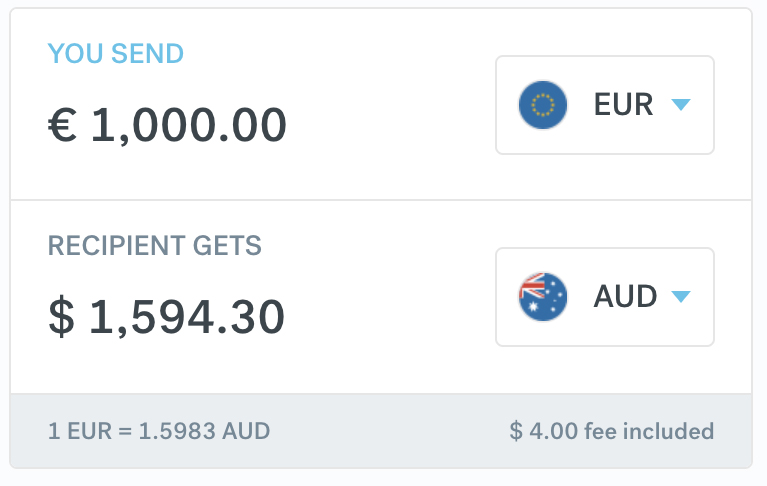 CurrencyFair EUR to AUD Transfers