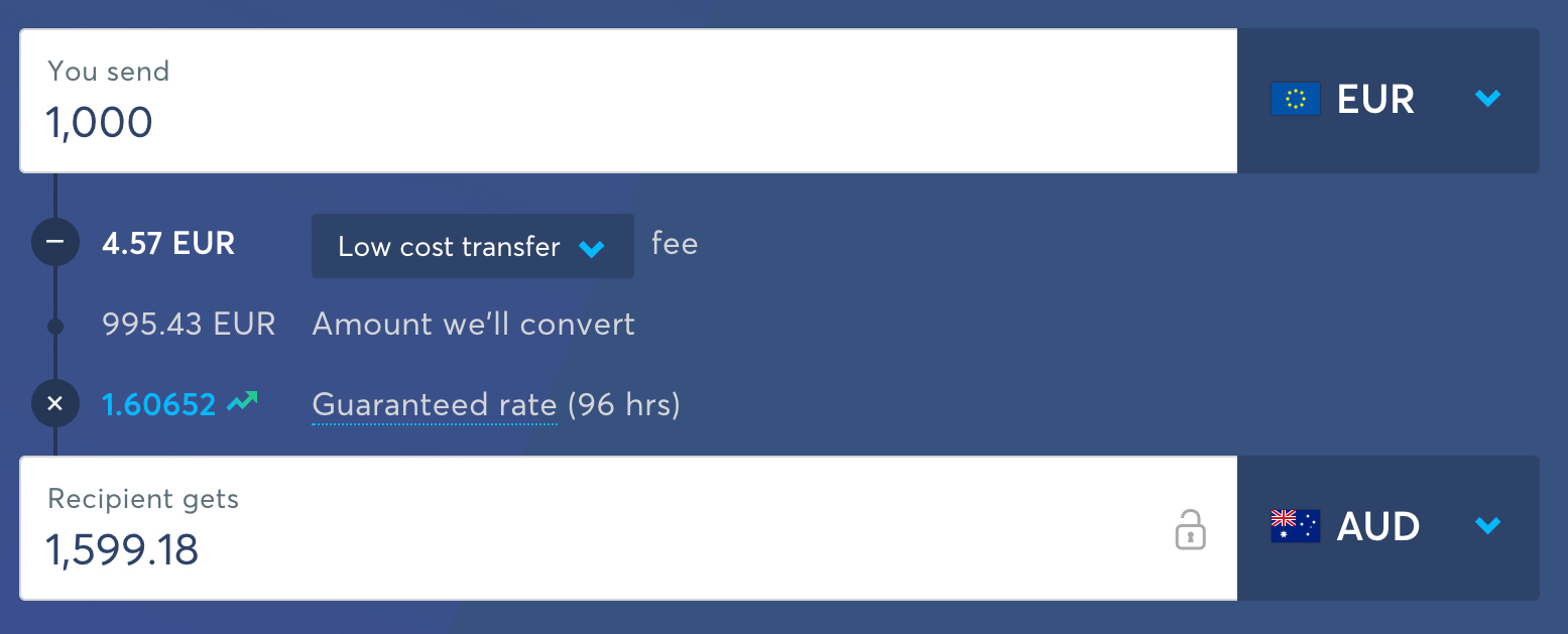 TransferWise low cost transfer EUR to AUD