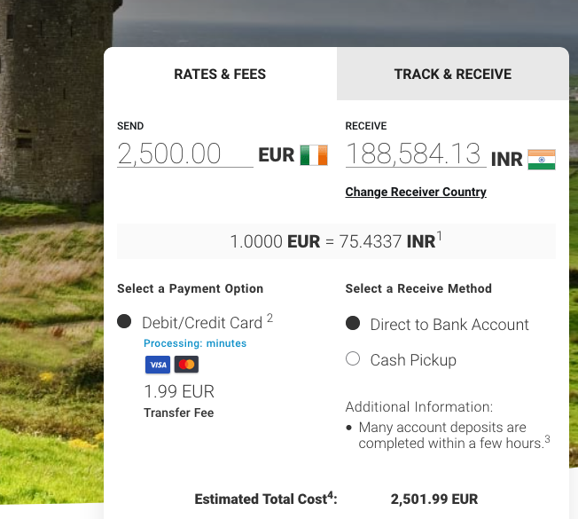 2500 euro to inr with MoneyGram