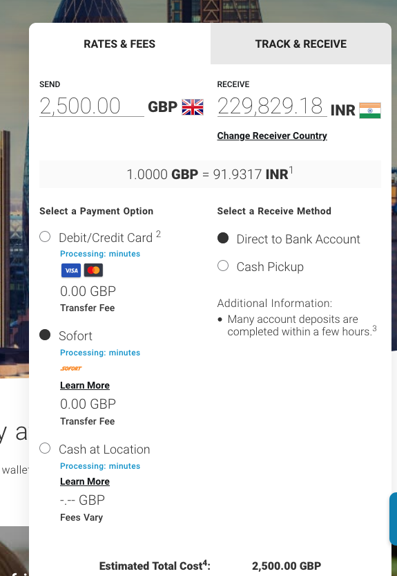 2500 pound sterling to inr with MoneyGram
