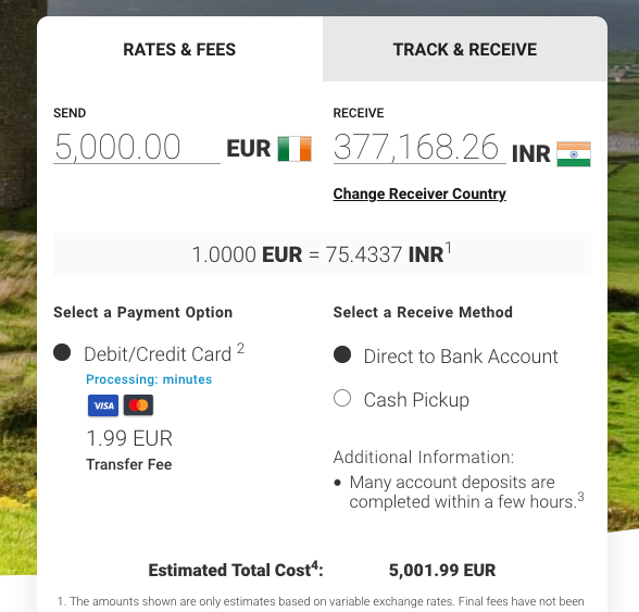5000 euro to inr with MoneyGram