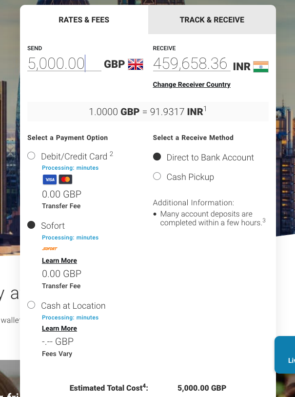 5000 pound sterling to inr with MoneyGram