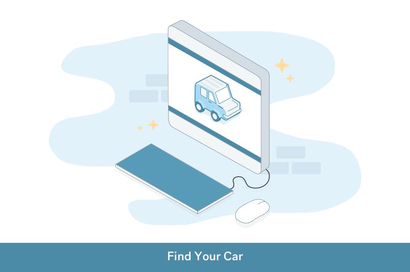 illustration of step 1 to find your car online