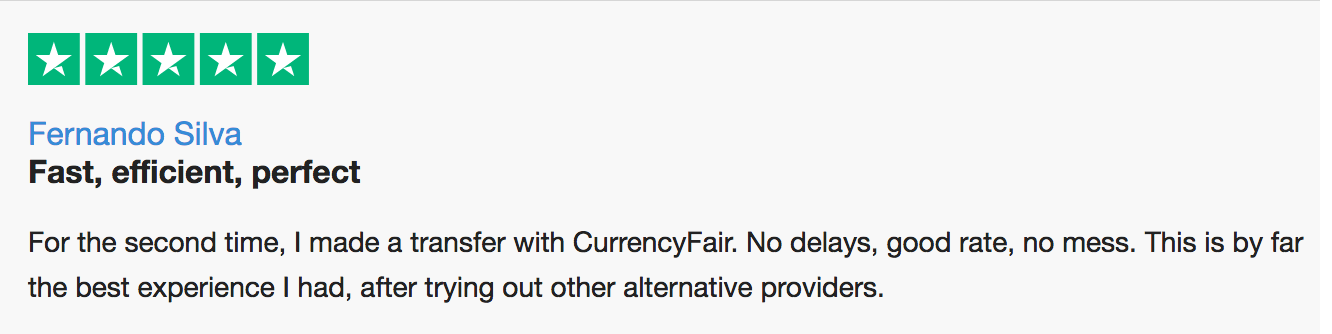trustpilot review of currencyfair by fernando