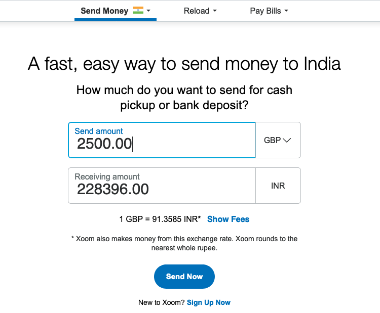 2500 pound sterling to indian rupee transfer Xoom