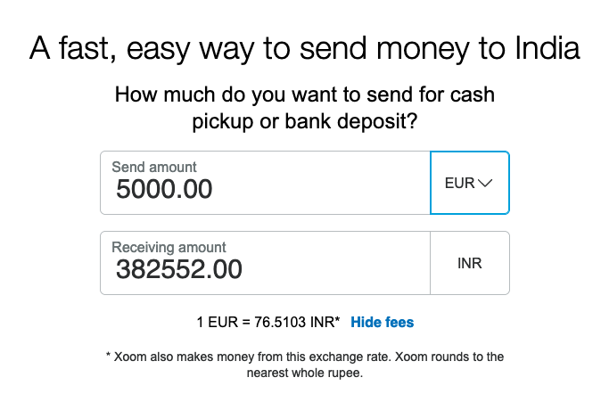 5000 euro to indian rupee transfer Xoom