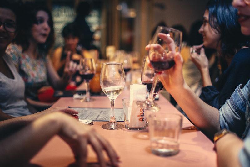 friends around table in restaurant