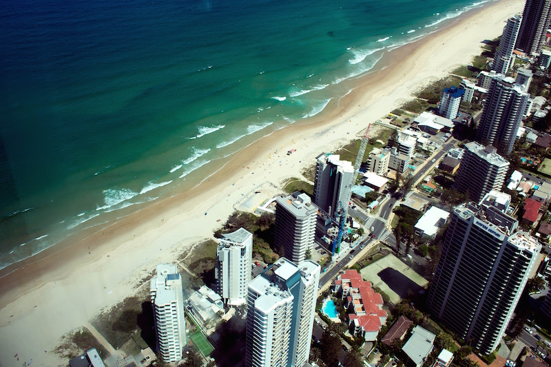 aerial view beach apartments