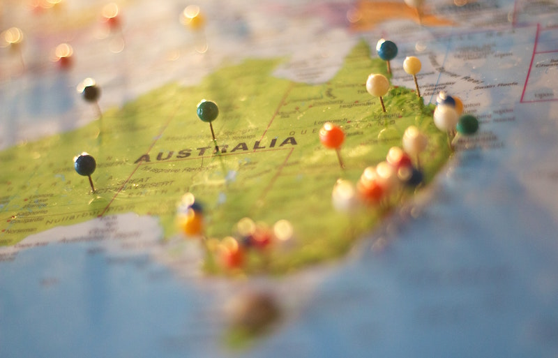 map of australia with pins