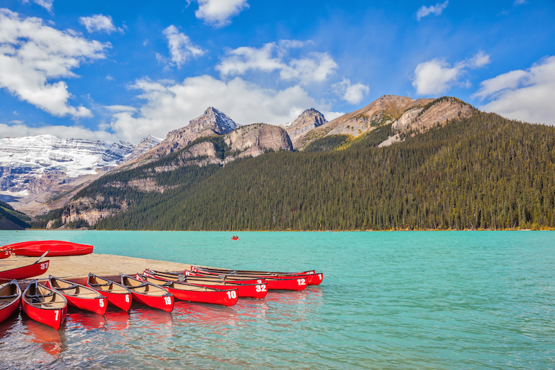canoes in Canadian lake