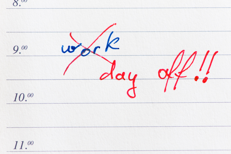 day off from work written on page in diary