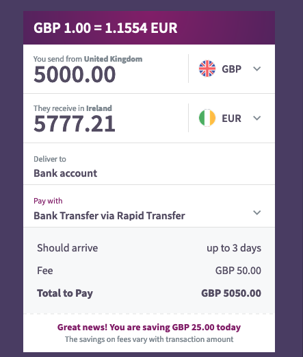 Exchange 5000GBP to Euro Skrill