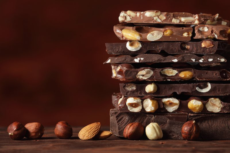 stack of milk chocolate nut bars
