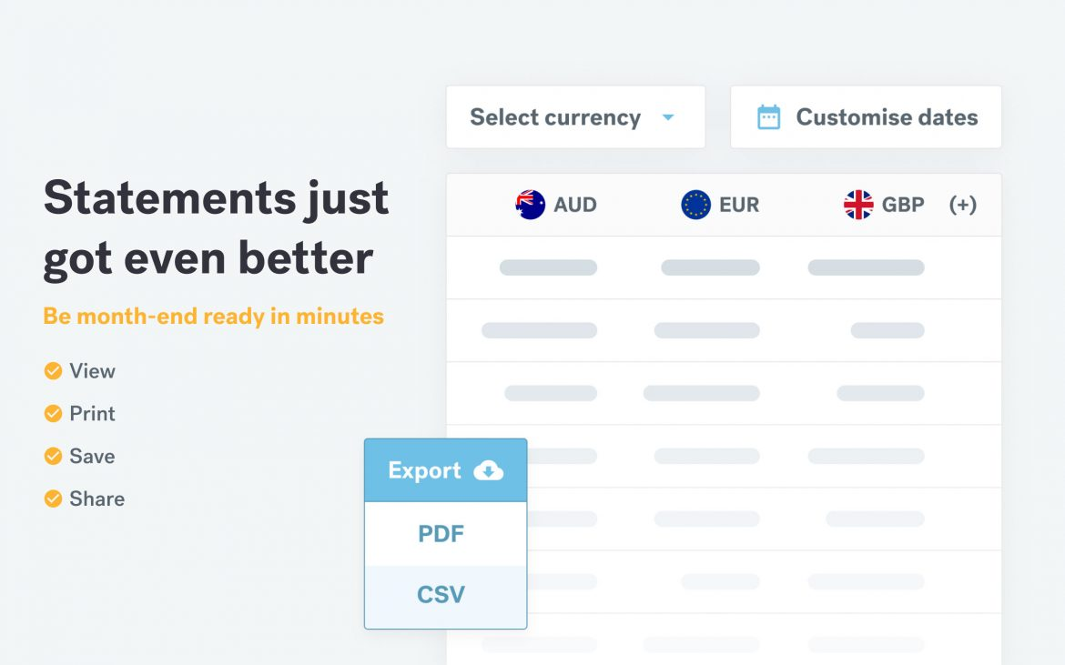 Save, print and share single and multi-currency statements